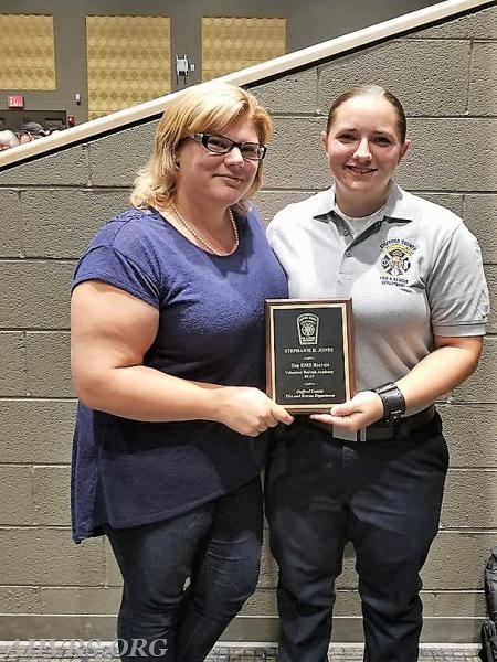 President Angela Wilhelm with Stephanie Jones named Top EMS Recruit at County Volunteer Recruit graduation
