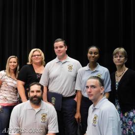 Victoria Sommer, President Angela Wilhelm,Matt Bingham, Ellenah Garcia, Rescue Chief Jayne Toellner (back row);                                          Nelson Bruni and Garrett Casey (Front)