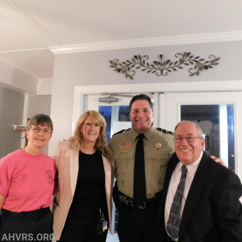 Rescue Chief Jayne Toellner with Life Member Patricia Copeland, Sheriff David Decatur and Founding Member Howard Rose